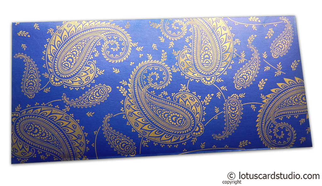 Gift Money Envelope in Imperial Blue with Golden Paisley Design