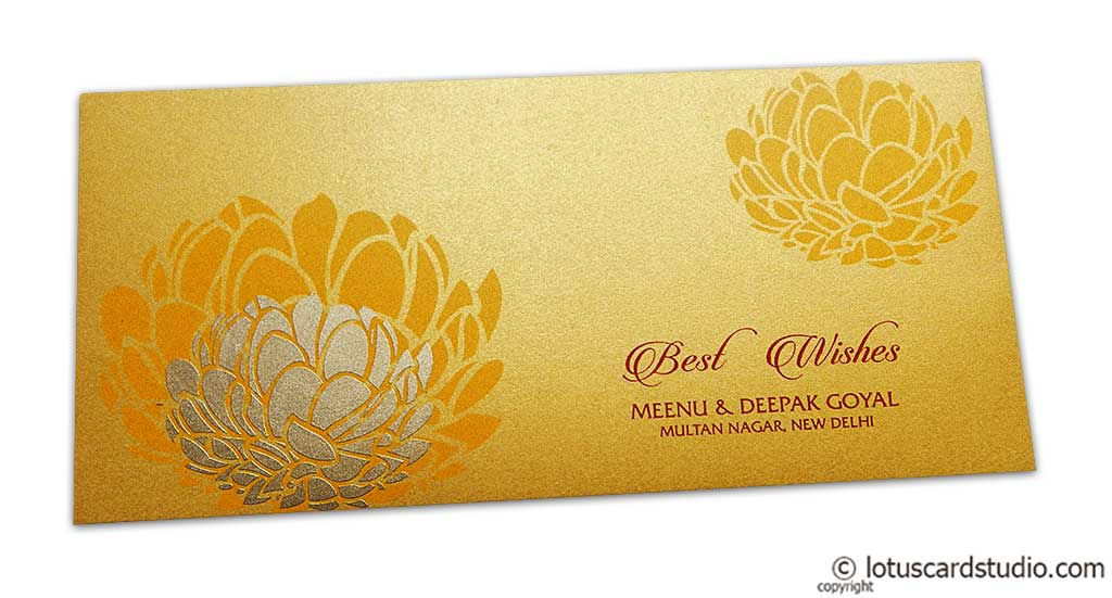 Lotus Flower Designer Gift Envelope in Gold