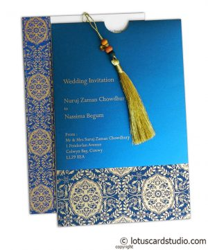 Magnificent Majestic Blue Wedding Card with Dori