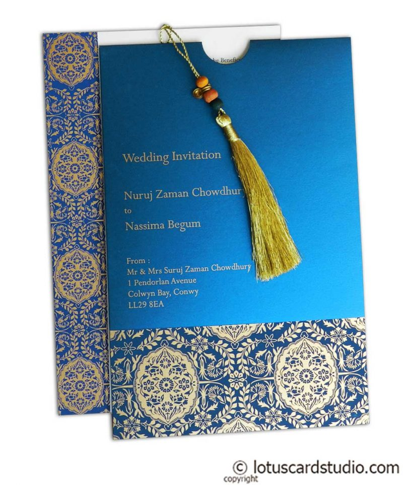 Magnificent Majestic Blue Wedding Card with Dori