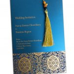 Envelope front of Magnificent Majestic Blue Wedding Card with Dori