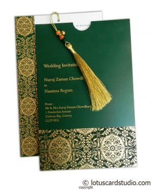 Magnificent Green Wedding Invitation Card with Dori