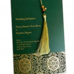 Envelope front of Magnificent Green Wedding Invitation Card with Dori