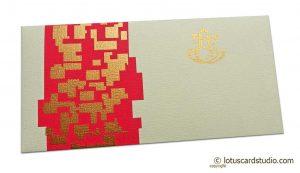 Money Envelope in Ivory with Golden Jagged Design on Magenta Strip