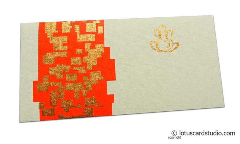 Money Envelope in Ivory with Golden Jagged Design on Orange Strip