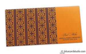 Shagun Envelope in Amber Orange with Blue Classic Design
