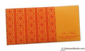 Shagun Envelope in Amber Orange with Red Classic Design