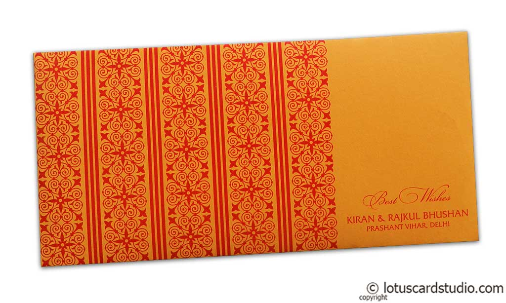 Shagun Envelope in Amber Orange with Red Classic Design