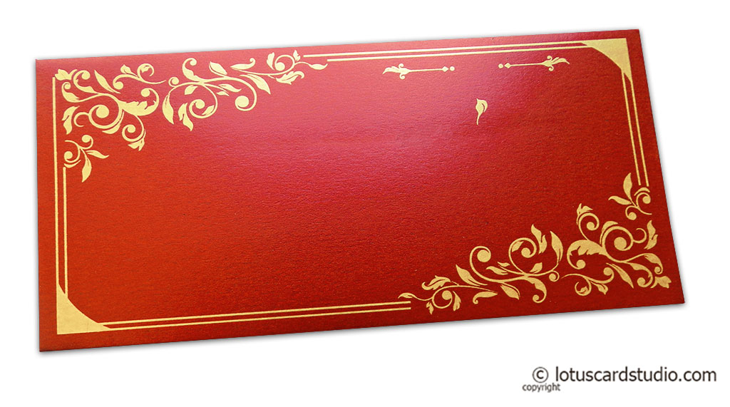Money Envelope in Royal Red with Golden Floral Vector Design