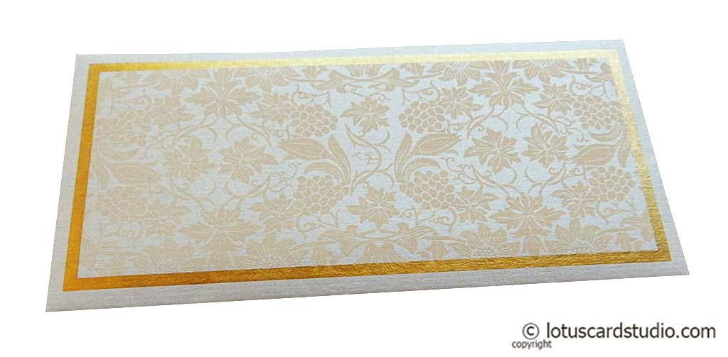 Money Envelope in Pearl Shimmer Metallic with Peach Flowers
