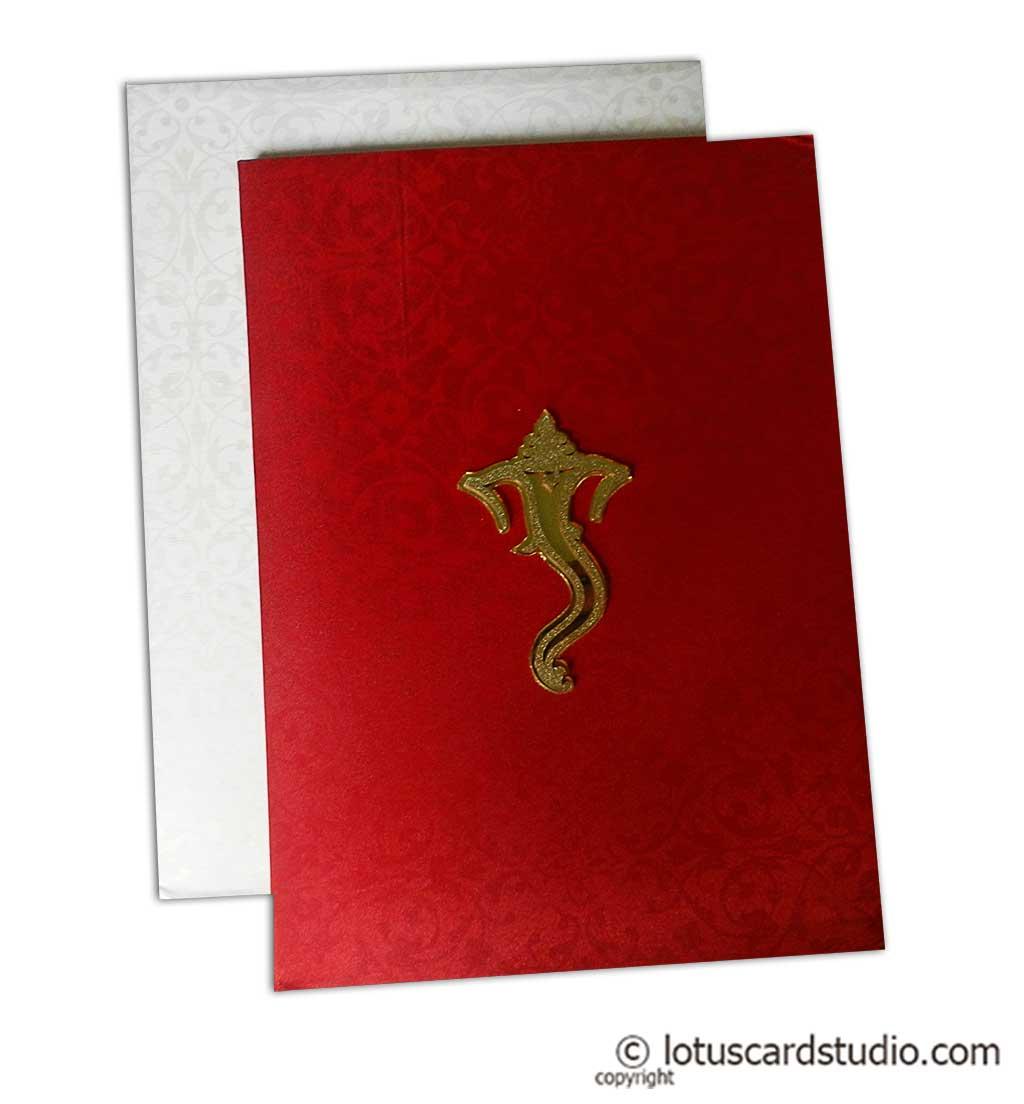 Red Satin Wedding Card with Ganesha