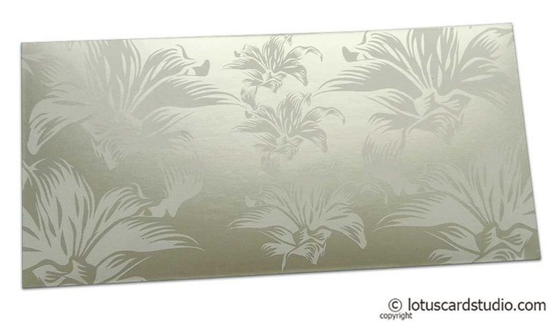 Beautiful Metallic Ivory Color Envelope with Blossom Flowers