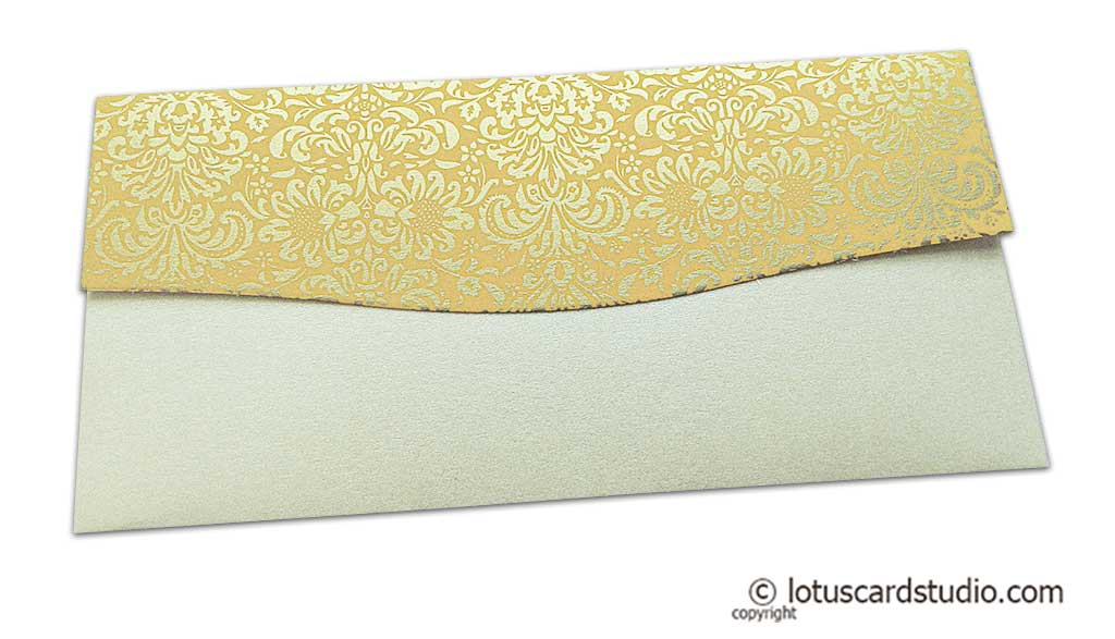 Back view of Shagun Envelope in Pearl Shimmer with Golden Flowers on Beige