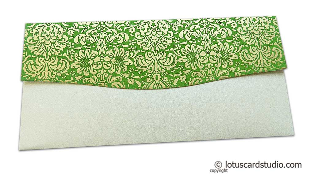 Back view of Shagun Envelope in Pearl Shimmer with Golden Flowers on Green