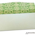 Flap open of Shagun Envelope in Pearl Shimmer with Golden Flowers on Green