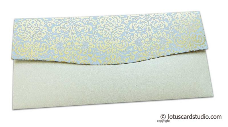 Back view of Shagun Envelope in Pearl Shimmer with Golden Flowers on Lavender