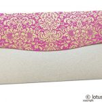 Back view of Shagun Envelope in Pearl Shimmer with Golden Flowers on Pink