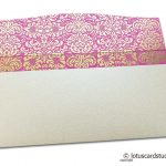 Flap open of Shagun Envelope in Pearl Shimmer with Golden Flowers on Pink