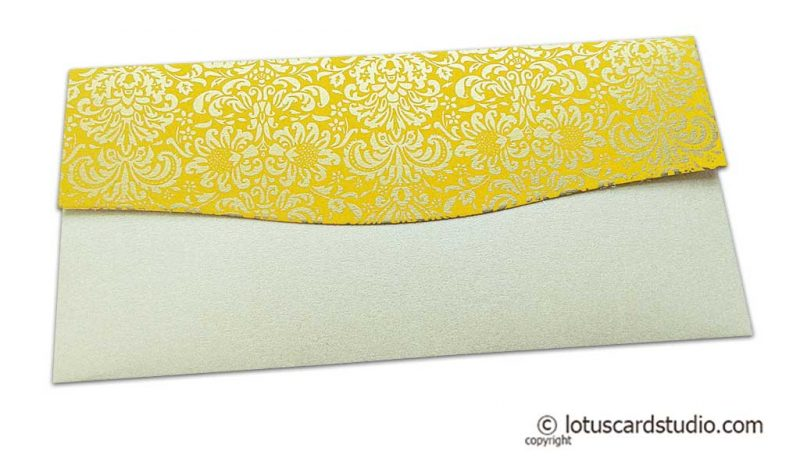 Back view of Shagun Envelope in Pearl Shimmer with Golden Flowers