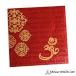 Card front of Stunning Wedding Card in Royal Red and Golden