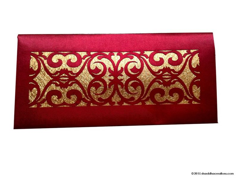 Signature Laser Cut Satin Shagun Envelope in Royal Red