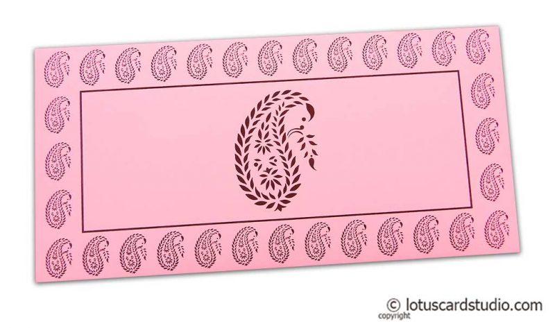 Traditional Brown Paisley Print on Light Pink Shagun Envelope