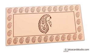 Traditional Brown Paisley Print on Peach Gift Envelope