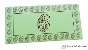 Traditional Brown Paisley Print on Pista Green Gift Envelope