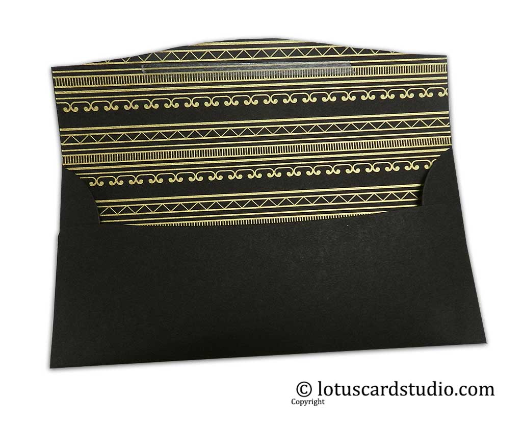 Inside design of Classic Black Shagun Gift Envelope