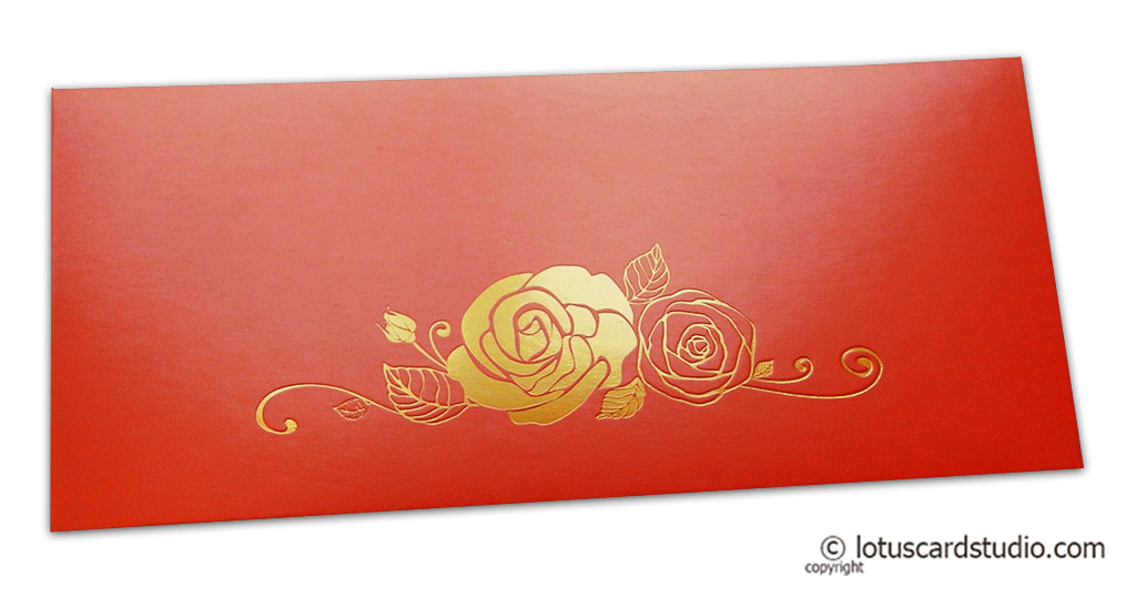 Classic Orange Money Envelope with Hot Foil Rose