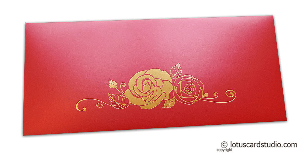 Classic Red Money Envelope with Hot Foil Rose
