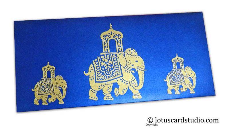 Elephant Shagun Envelope in Imperial Blue