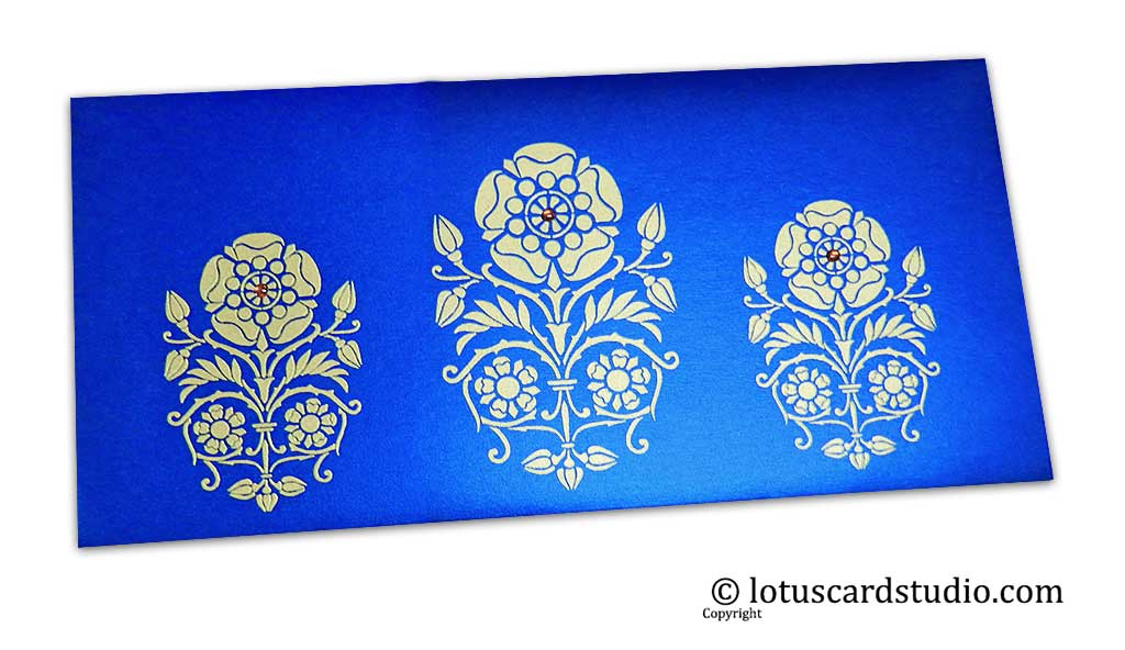 Daisy Floral Gift Envelope in Imperial Blue with Rhinestones