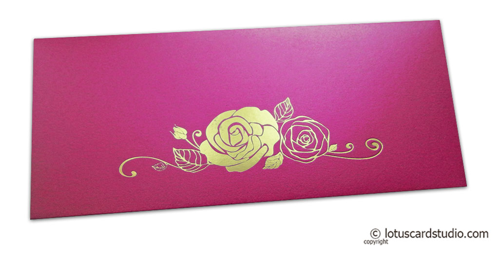 French Rose Pink Money Envelope with Golden Hot Foil Rose
