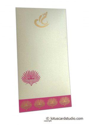 Lotus Theme Money Envelope in Pearl Ivory