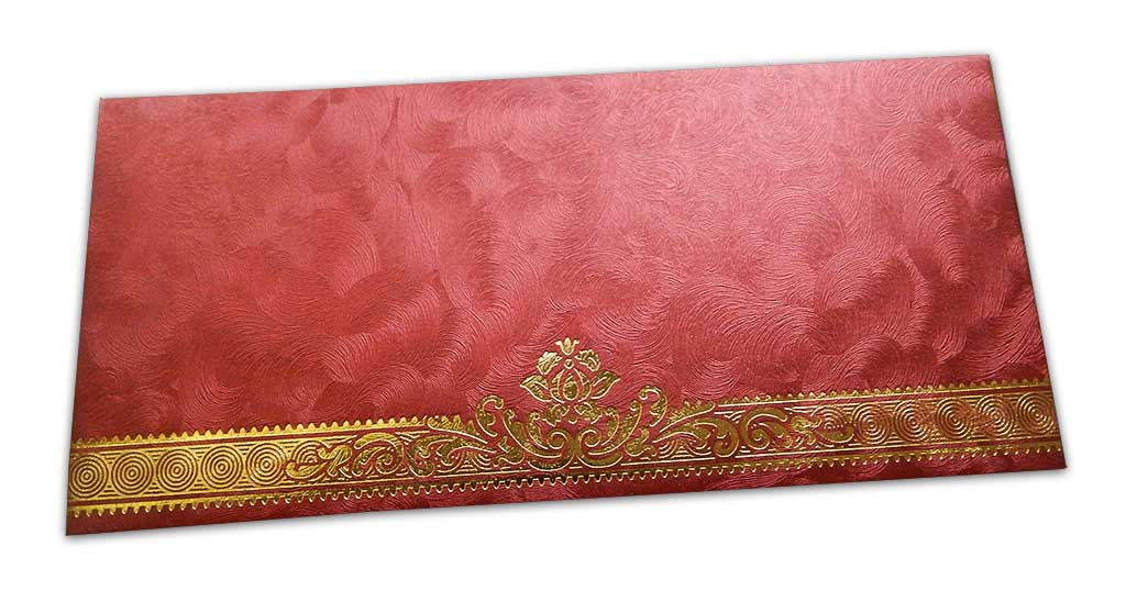 Gift Envelope in Red with Swirl Design and Golden Floral Border