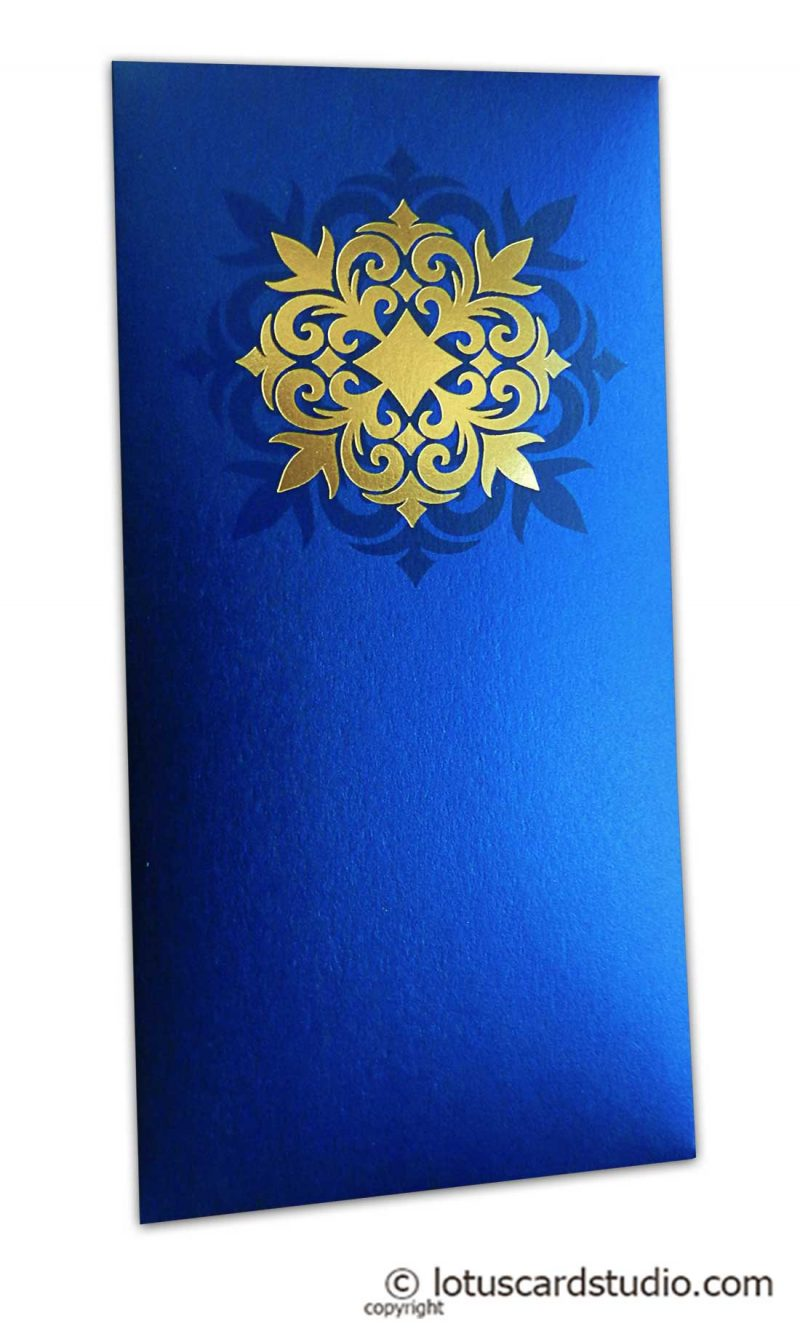 Golden Hot Foil Floral Printed on Imperial Blue Envelope