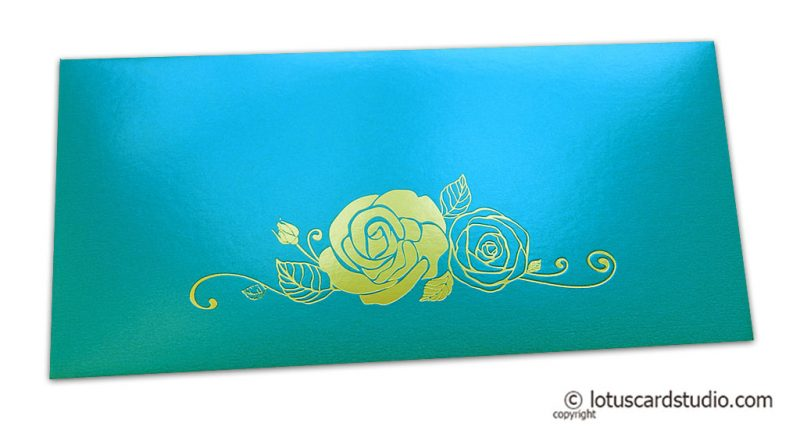 Teal Money Envelope with Golden Hot Foil Rose