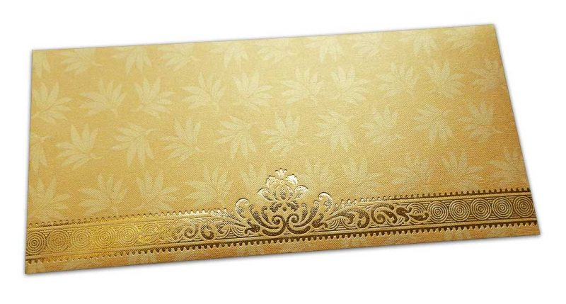 Golden Money Envelope with Flowers and Golden Floral Border