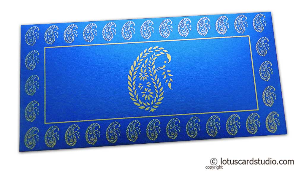 Traditional Golden Paisley Print on Imperial Blue Money Envelope