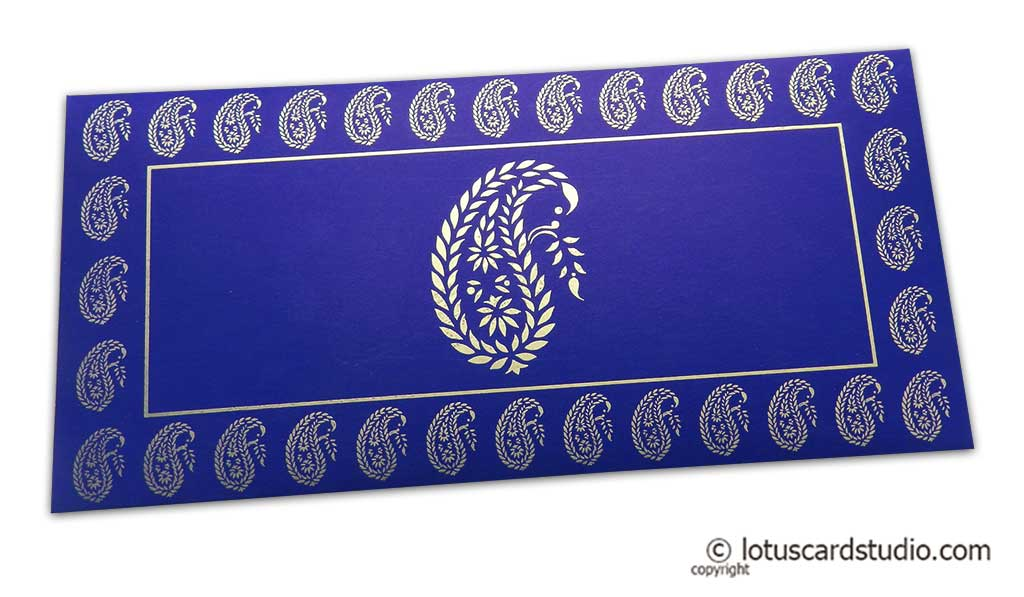 Traditional Golden Paisley Print on Super Indigo Money Envelope
