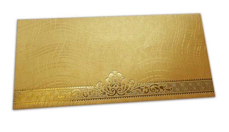 Golden Shagun Envelope with Wave Lines and Golden Floral Border