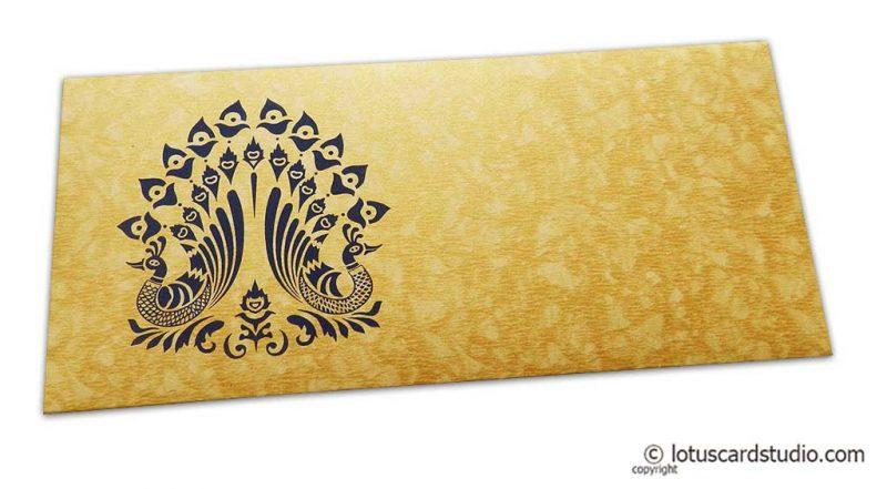 Peacocks on Golden Shimmer Texture Shagun Envelope