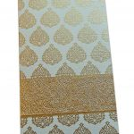 Golden Floral Money Envelope in Ivory Enriched with Golden Fibro Strip