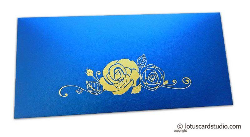 Imperial Blue Money Envelope with Golden Hot Foil Rose