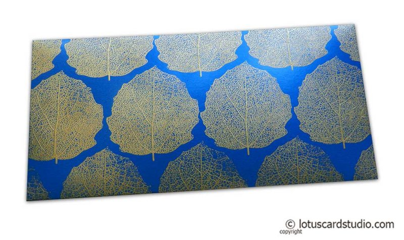 Imperial Blue Money Envelope with Raised Golden Leaves