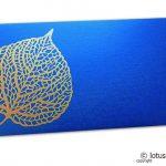 Imperial Blue Shagun Envelope with Golden Leaf