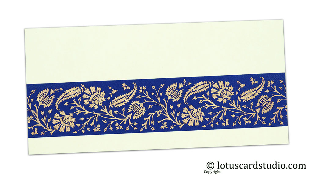 Ivory Color Money Envelope with Blue Strip