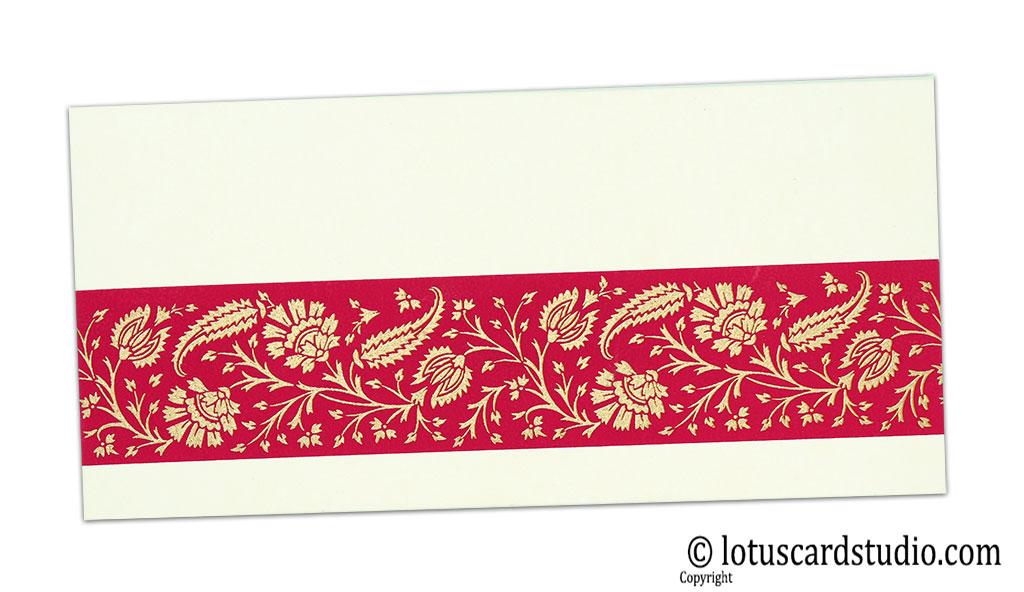 Ivory Color Money Envelope with Magenta Floral Strip
