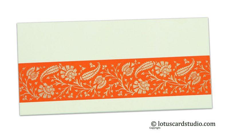 Ivory Color Money Envelope with Orange Floral Strip